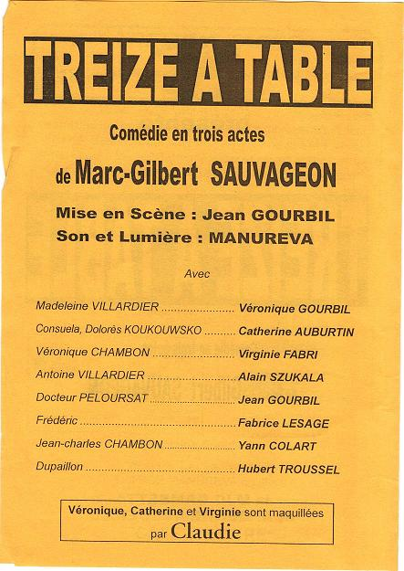 Affiche de TREIZE A TABLE 19 et 20 Avril 2002