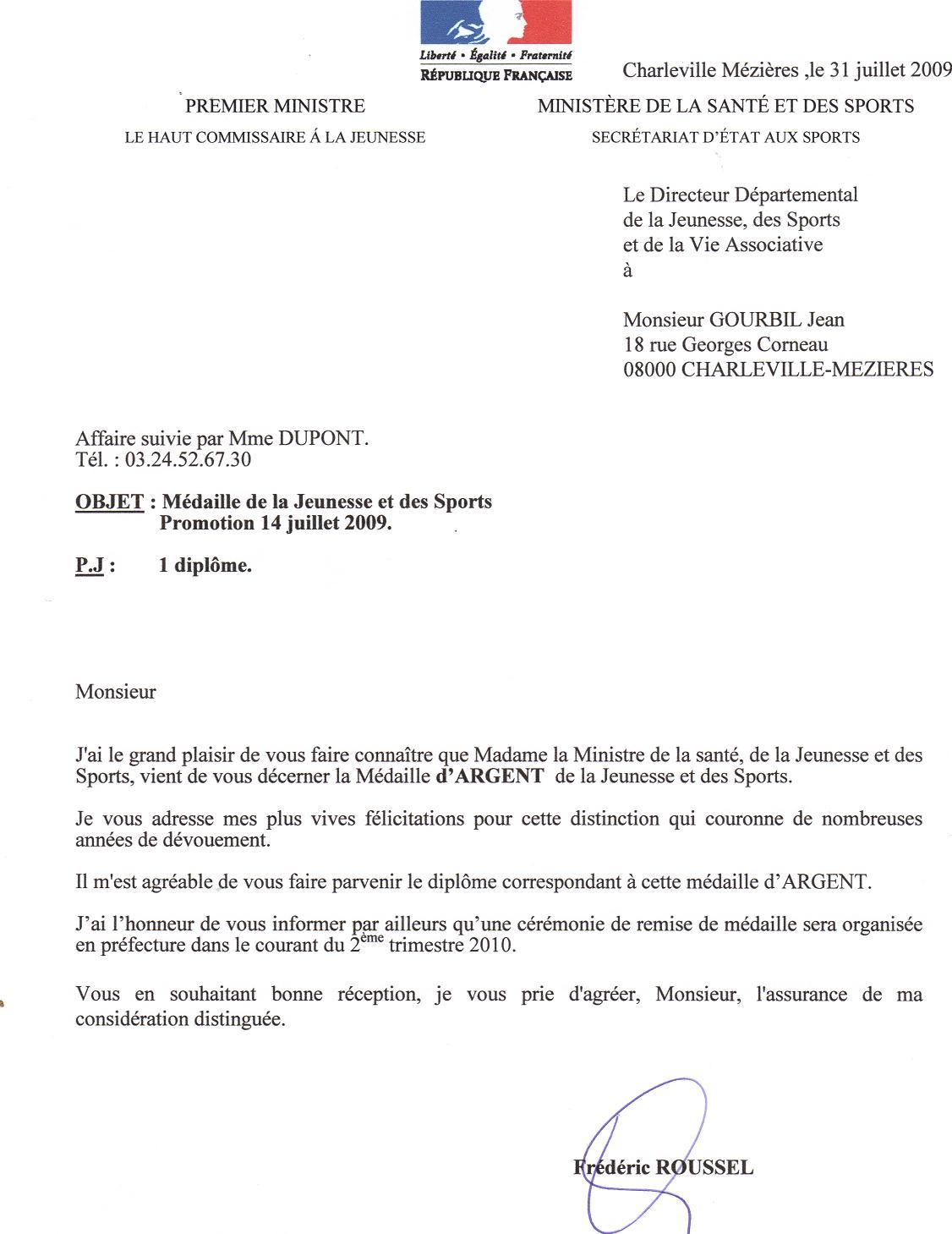 Double de la lettre de Monsieur le Directeur DDJS