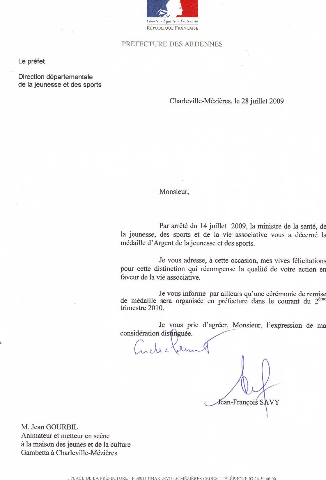 Double de la lettre de Monsieur le PREFET des ARDENNES
